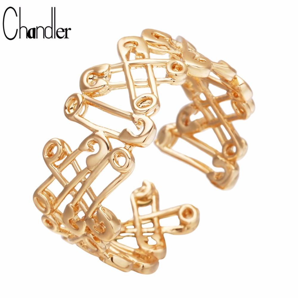 Chandler Hip Hop Boho Rings Brooch Pin Connected Personnality Open Golden Color Palting Cheap Ring Findings 2018 Summer Fashion