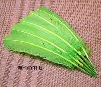 Gros 100 pcs 25 - 30 cm vert couleur véritables plumes de dinde naturelles plumes cheveux extensions plume d'oie