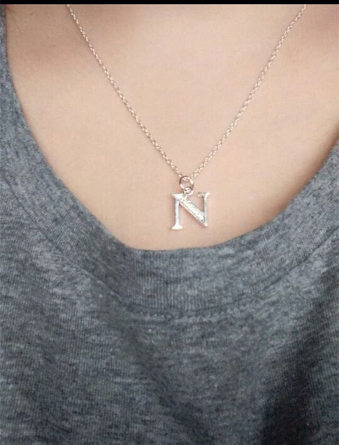 Silver necklace English Letter Capital Crystal Stone