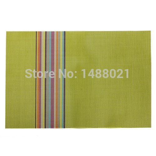 1 Pcs Table Placemat Kitchen Dining Room Tableware Mat Green PVC Rectangle Dish Spoons Pads