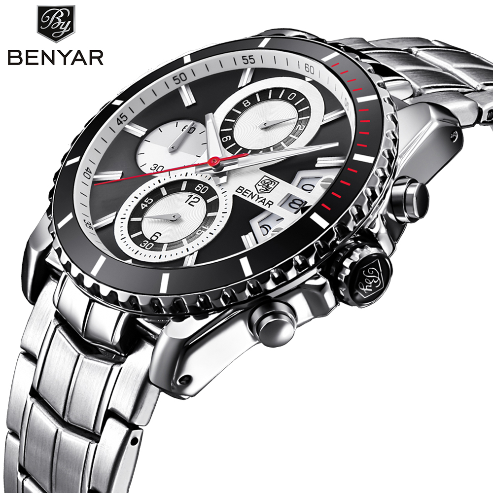 BENYAR Brand Sport Men Watch Quartz Wristwatch Stainless Steel Band Wrist Army Military Male Watches Clock Relogio Masculino new 2017 relogio masculino reloj watch men quartz sport military stainless steel dial leather band wristwatch clock gift1114d 50