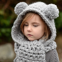 Free Shipping Wholesale Hot And New Autumn Winter Children Warm Wool Knitted Scarf Hat Ears Knitted