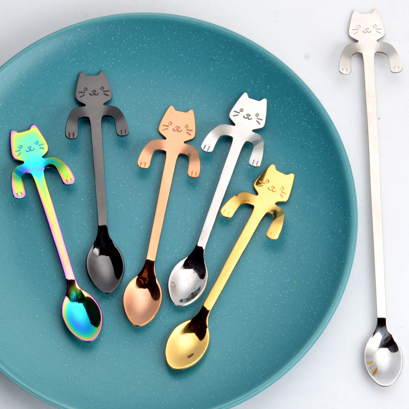 Stainless Steel Cat Bear Coffee Spoons Strring Spoon Long Handle Teaspoon Tea Spoon Dessert Scoop Tableware Gold Cutlery