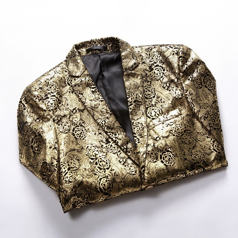 ¡Novedad de 2019! Blazer de lujo con estampado dorado para hombre, chaqueta para hombre, chaqueta ajustada para hombre de talla grande - 2