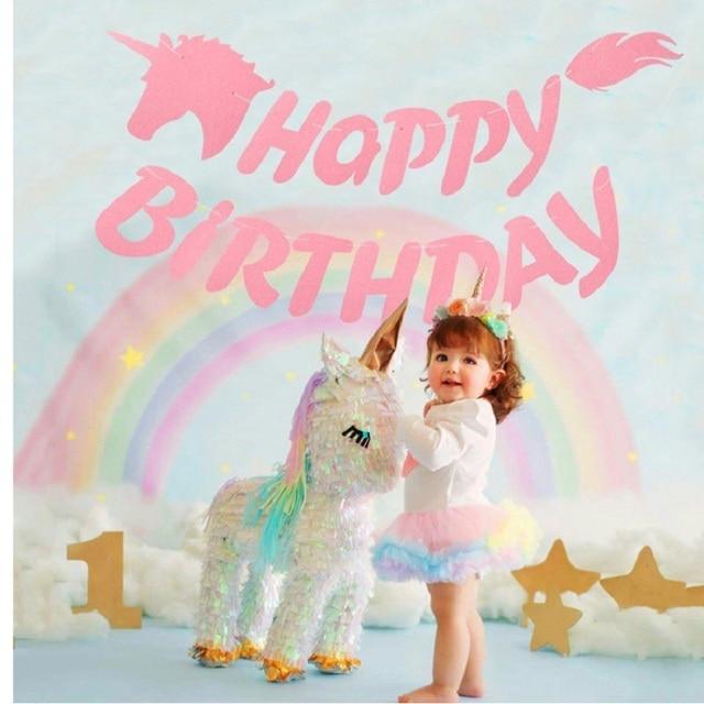 Unicorn Banner Garland Happy Birthday Pink Unicorns flags Bunting