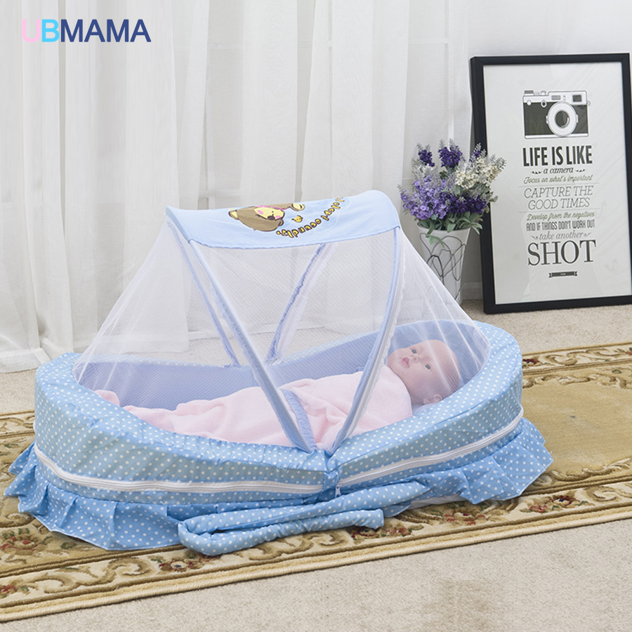 Portable baby bed with mosquito net portable baby bed game cotton folding bed with children bed cover Baby cot crib 110*86*68cm