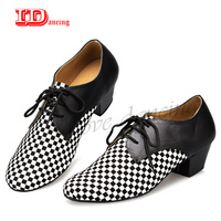 IDancing Ballroom Shoes Men Dancing Shoes Leather Latin Dance Shoes For Men Checked Square Flat Shoes Plus Size Adults