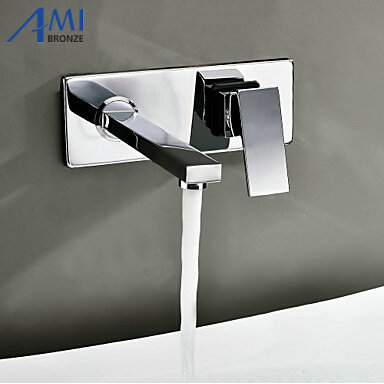 bathroom basin sink faucet wall mounted square chrome brass mixer tap free shipping high quality chrome finished brass in wall bathroom basin faucet brief sink faucet bf019
