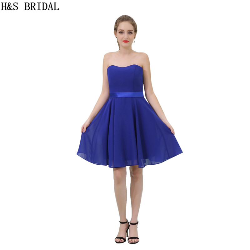 H&S BRIDAL Sweetheart Chiffon   cocktail     dresses   vestidos de festa Royal Blue   cocktail     dress   Backless vestido   cocktail   Party   Dress