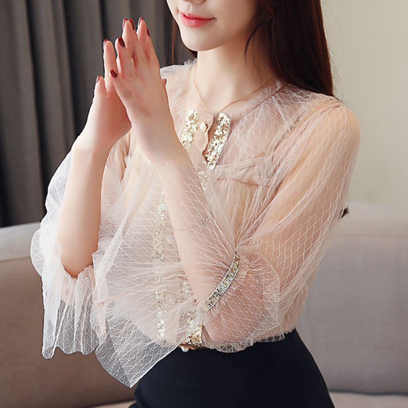 2019 Spring New Chiffon Blouse Long Sleeve Sequins see through sexy Hollow out flare sleeve o neck white Chiffon blouse 36F3 in Blouses amp Shirts from Women 39 s Clothing