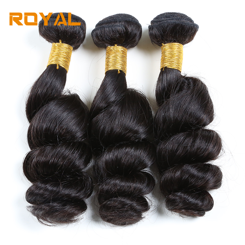 Loose Wave Peruvian Human Hair Weave Bundles One Pack 3PCS Non Remy Hair Weft Bundles Natural Color