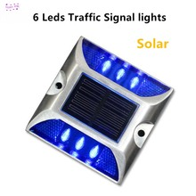 6LED Outdoor Solar aluminum spike traffic signal lights Villa Landscape solar drive lamp waterproof Road stud led