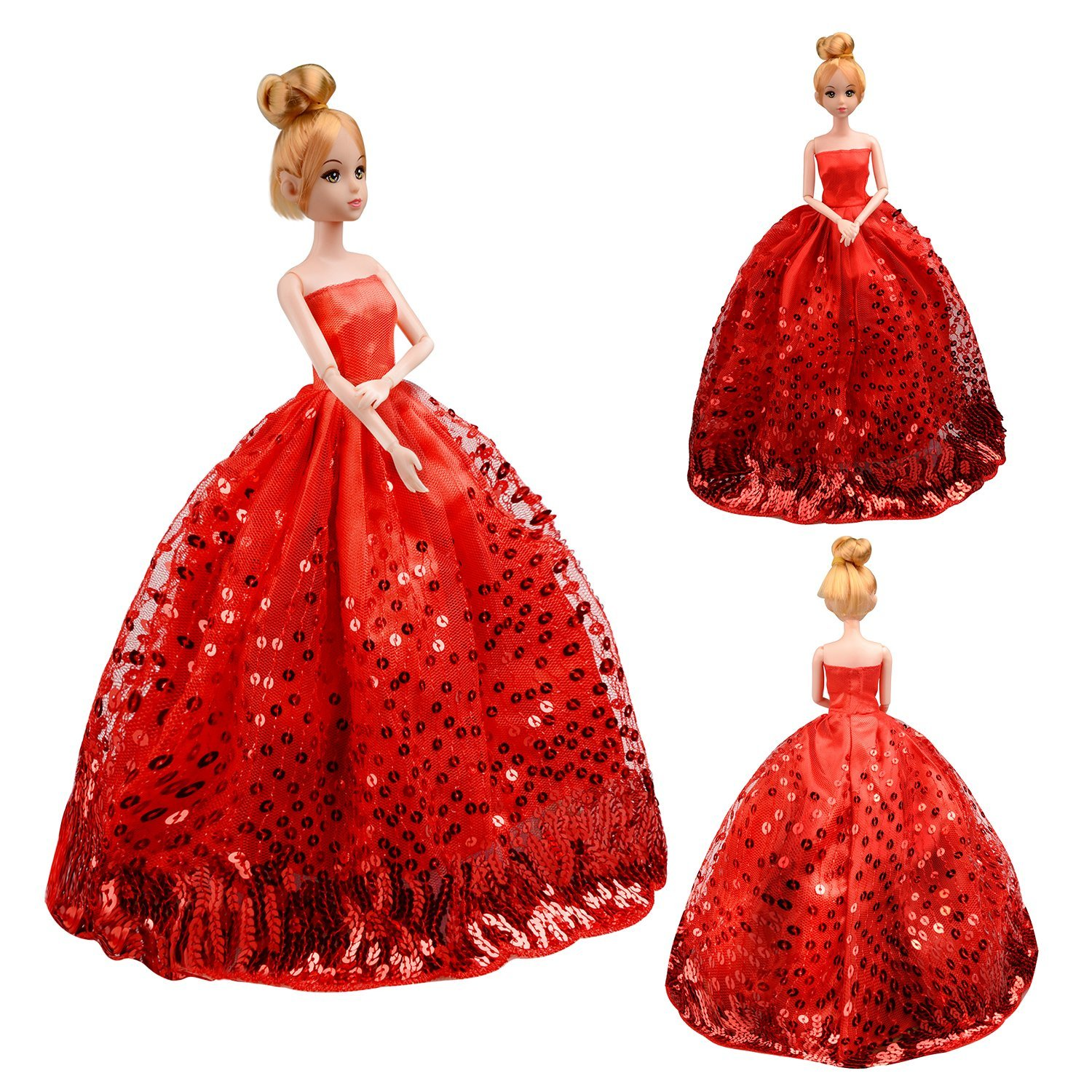 Saleaman Gorgeous Handmade Wedding Dress Made to Fit For Barbie Doll Accessories With Long Dress Toys For Girl Xmas Gift
