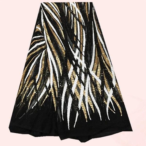 5 yards/pc 고급 프랑스어 블랙 그물 레이스 원단 골드 + 화이트 + 블랙 장식 조각 드레스 FN10 1-에서직물부터 홈 & 가든 의  그룹 1