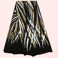5yards/pc High grade French black net Lace Fabric with gold+white+black sequins for dress FN10 1