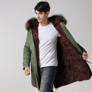 Fur Coat Real-Parka Jacket Outwear Brown Long Fashion Mens Warm for Winer Best-Quality