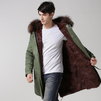 2017 Mens outwear long brown fur coat, mens winer fashion warm fur jacket, real collar best quality for mens real parka