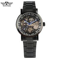 Mostrador Esqueleto Relógio Mecânico automático para Os Homens de Aço Inoxidável Strap Self-Vento Relógio para Adolescentes Relógios de Negócios para o Homem