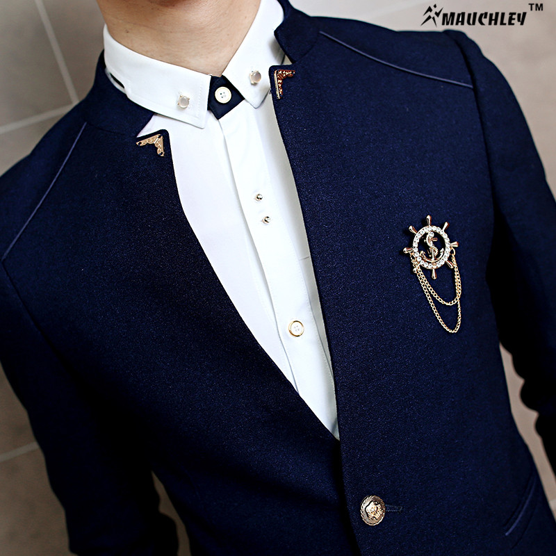 MAUCHLEY 2PCS / Készlet Slim Fit Prom Homme Férfi jelmez Esküvői - Férfi ruházat - Fénykép 4