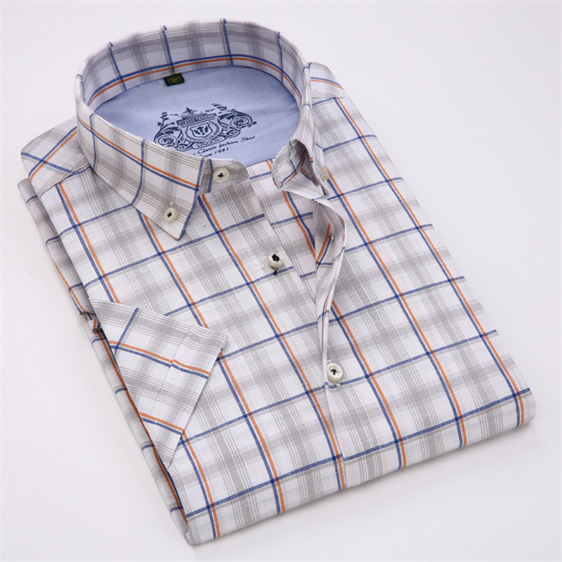 VISADA JAUNA Män Skjorta Pläd kortärmad Casual Brand Kläder - Herrkläder - Foto 4