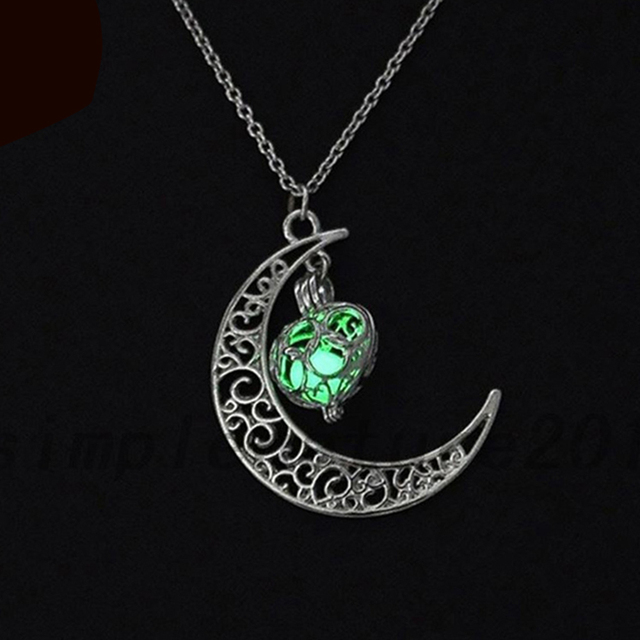 Moon Glowing Necklace Silver Plated