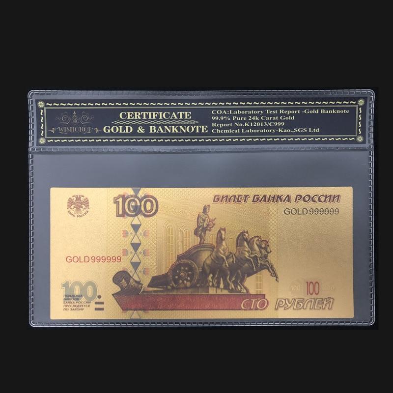 Горячая Распродажа для России банкноты 100 рубл золотые банкноты с ПВХ COA рамкой для бизнеса и коллекции