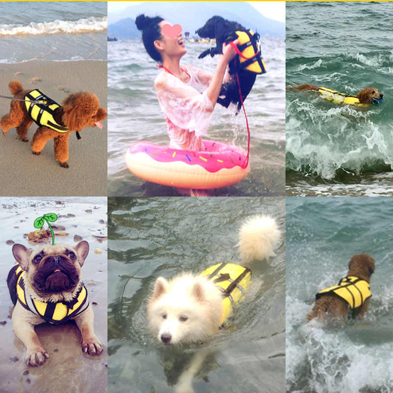 HOOPET לחיות מחמד כלב חיים Jacket בטיחות אפוד גלישה שחייה בגדי קיץ חופשה אוקספורד לנשימה צרפתית בולדוג