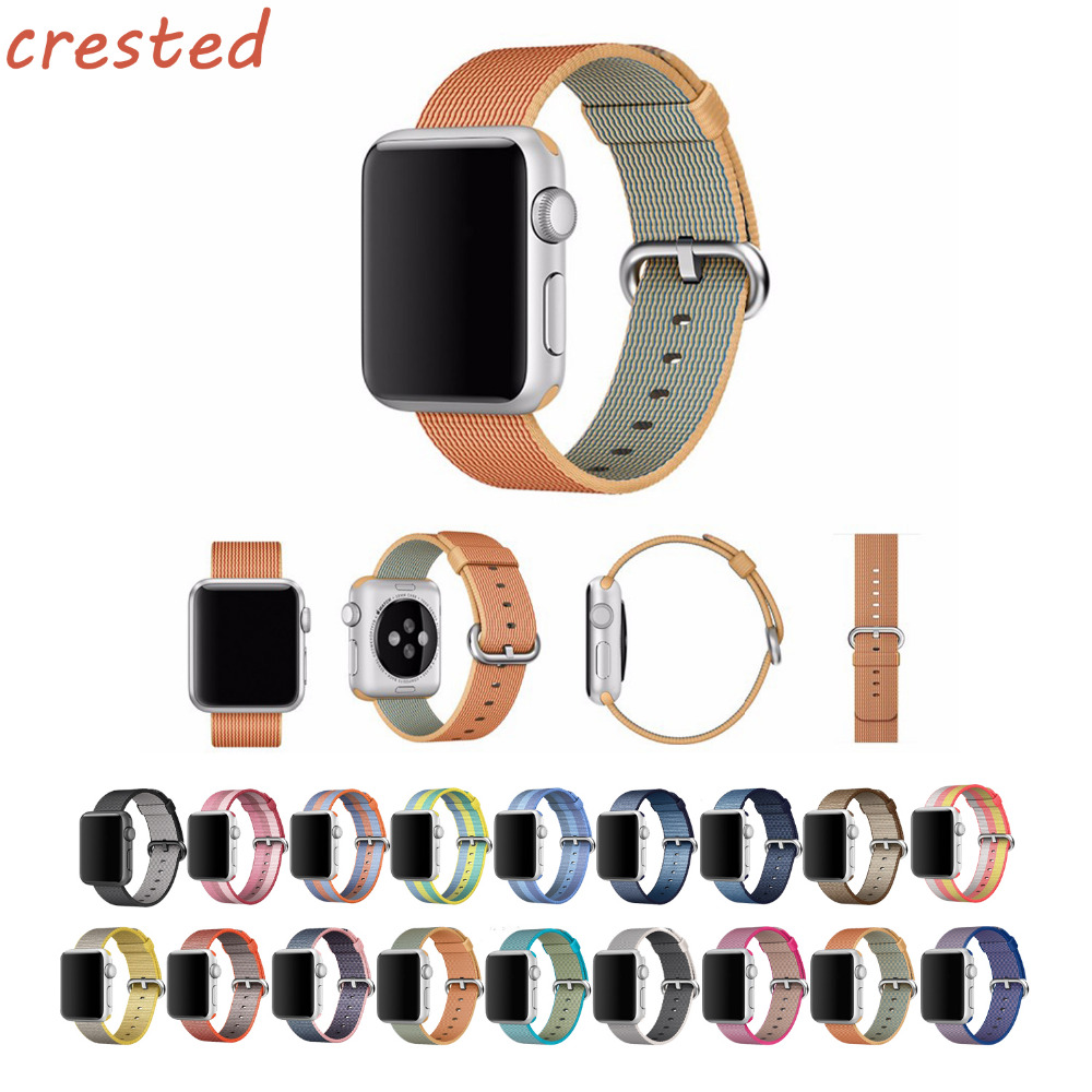 CRESTED 2 Woven Nylon strap band For Apple Watch 42mm 38mm wrist braclet belt fabric-like nylon watchband for iwatch 2/1/3 ремешок apple 42mm red woven nylon mpw72zm a