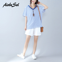 Plus Size Women Summer T Shirt Striped Cotton Patchwork Short Sleeve V Neck Navy Style Loose