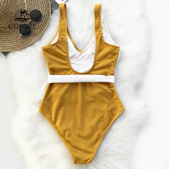 Cupshe Yellow And White Colorblock One-piece Swimsuit Women Patchwork Belt Bow Monokini 2019 V-neck Beach Bathing Suit Swimwear 3
