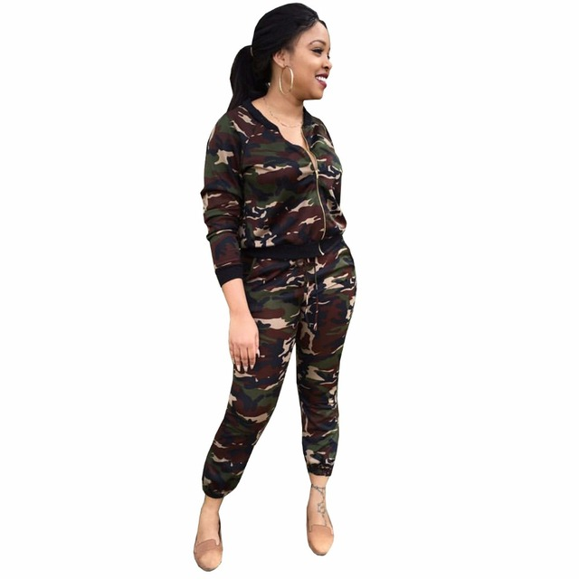 7ef7e0a93322 Camouflage Jacket Pants Winter Fashion 2 Piece Set Tracksuit For Women Pant  And Sweatsuits Plus Size