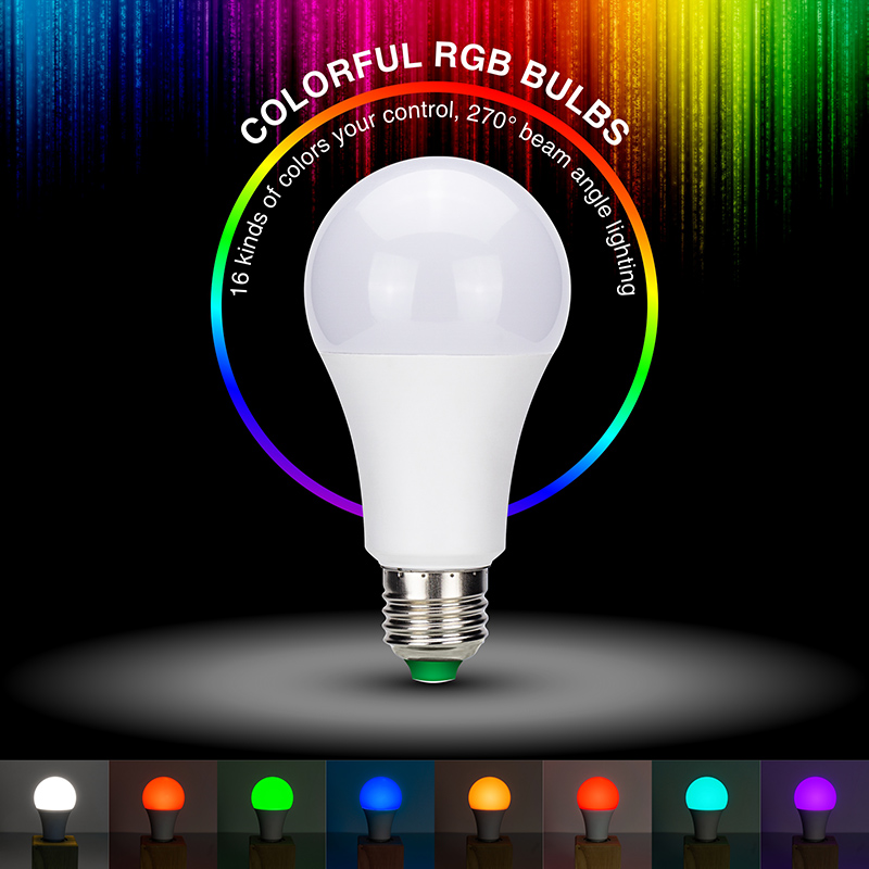 LED Dimmable RGB Light Bulb 5W 10W 15W AC85-265V 16Color Change With IR Remote Control Smart Indoor Lighting Party Show Decorate