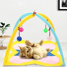 Pet Cat Tent Activity Center with Hanging Toys Kitten Play Mat Sleeping Bed