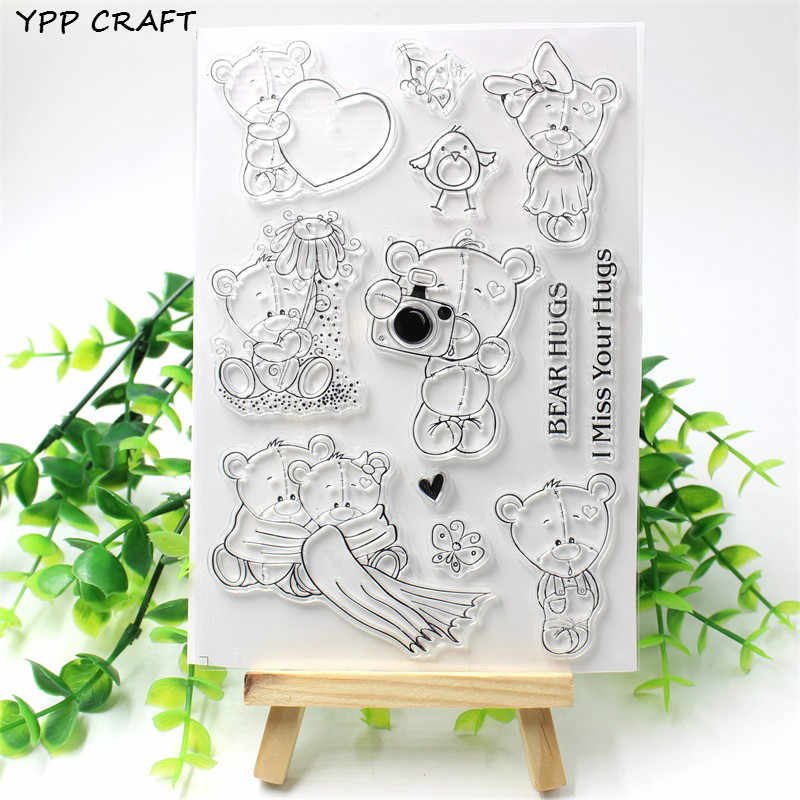 YPP CRAFT Bear Hugs Transparent Clear Silicone Stamp/Seal for DIY scrapbooking/photo album Decorative clear stamp sheets 719