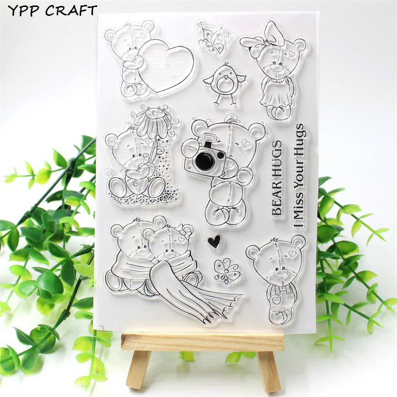 YPP CRAFT Bear Hugs Transparent Clear Silicone Stamp/Seal for DIY scrapbooking/photo album Decorative clear stamp sheets lovely bear and star design clear transparent stamp rubber stamp for diy scrapbooking paper card photo album decor rm 037