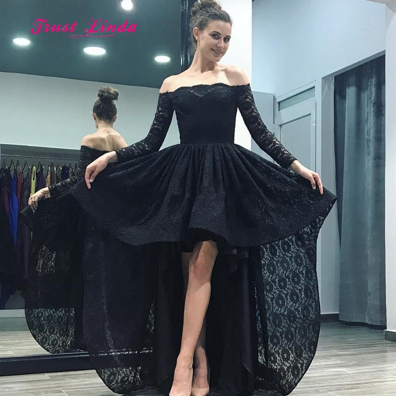 Black Dress For Wedding Party Boat Neck Off The Shoulder