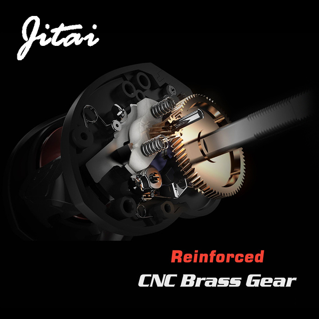 JITAI Baitcasting Reel Dual Brake System 10Kg Carbon Fiber Drag 7.0:1 High Speed Lightweight 204g Fishing Reel Fishing Wheels 4