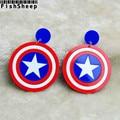 Fishsheep Pentagram Captain America Drop Earrings Avengers Alliance Shield Big Acrylic Long Earring For Women Brincos Bijoux