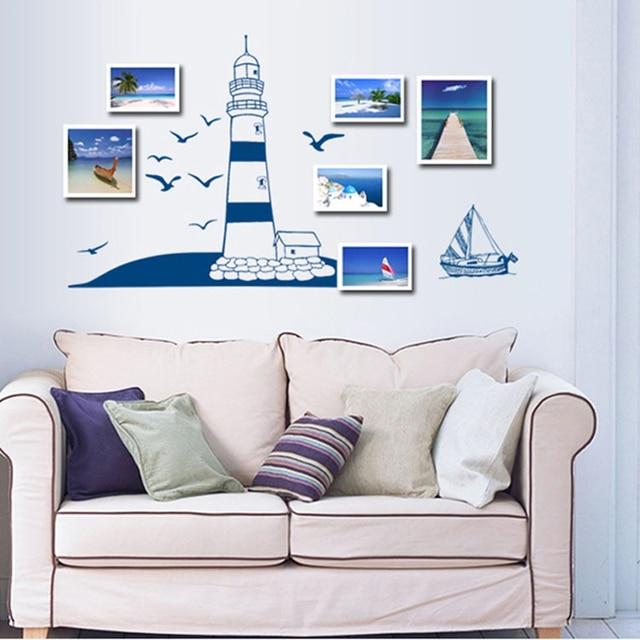 blu mare faro adesivi murali gabbiano adesivi per pareti adesivi ... - Adesivi Murali Per Camera Da Letto