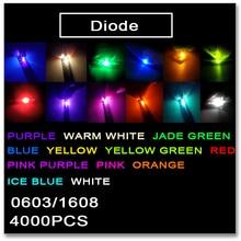JASNPROSMA 0603 1608 SMD LED 4000PCS Red Orange Yellow Green Jade green ice Blue White Warm white Pink Purple light colors 1.2*0