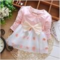 Nueva dress bebé bow rodilla-longitud girls dress vestidos bebes ninas baby girl dress 6by018