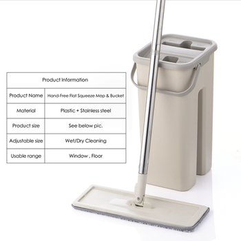 Flat Squeeze Lazy Spinning Mop bucket with microfiber Pads Hand wash free Magic Self-extruding For kitchen Floor Cleaning 2