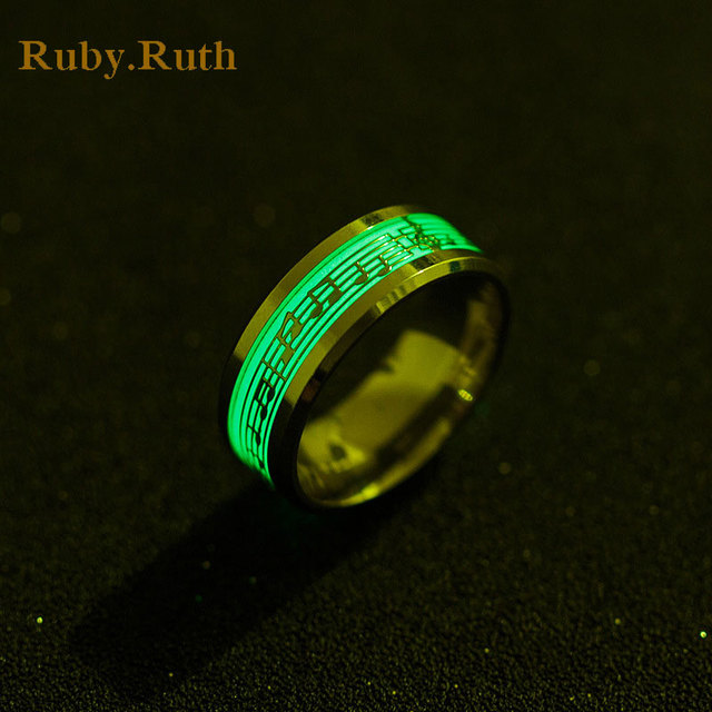 Luminous Ring Stainless Steel Music Stave for Men Women Creative
