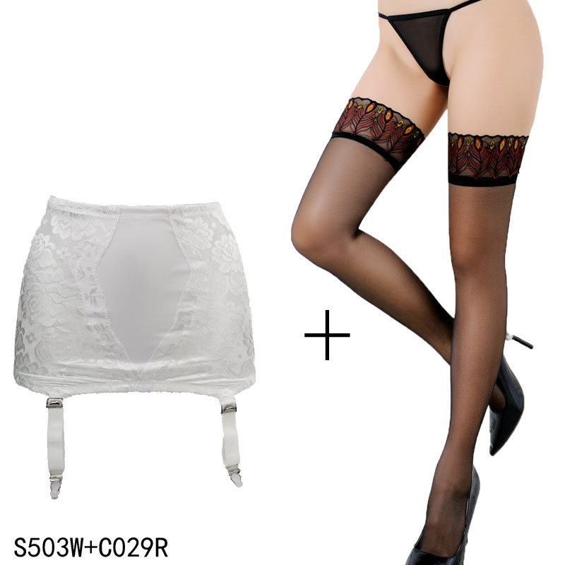 c8d2cb639 New Fashion Accessories Lace Sexy Plus size Metal Clips Buckles Garter Belt  with Black stockings set ...