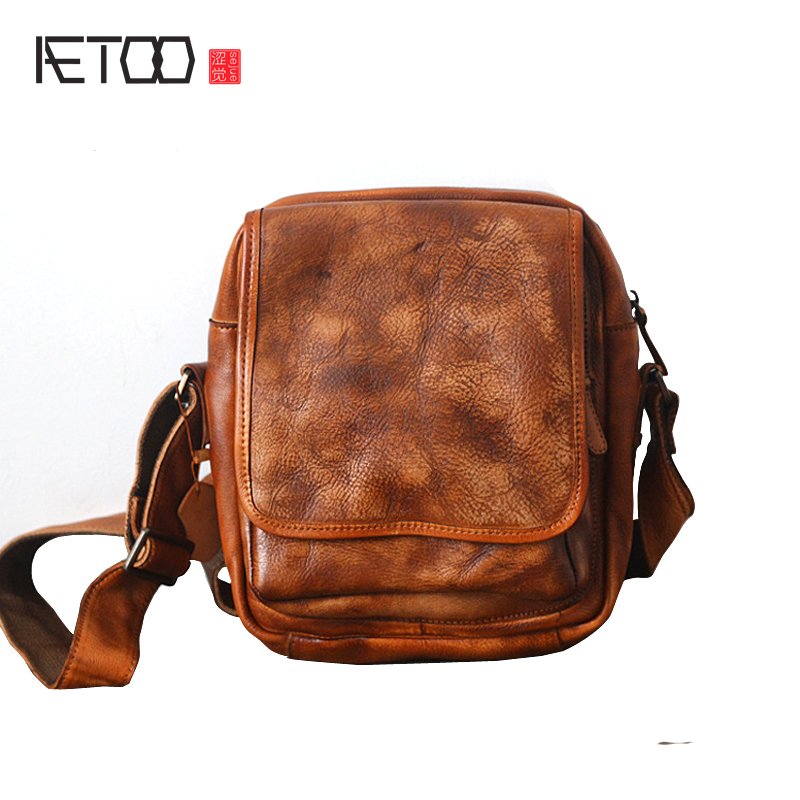 AETOO New original leather handmade retro men and women Baotou layer of fur to do the old shoulder Messenger bag qiaobao 2018 new korean version of the first layer of women s leather packet messenger bag female shoulder diagonal cross bag