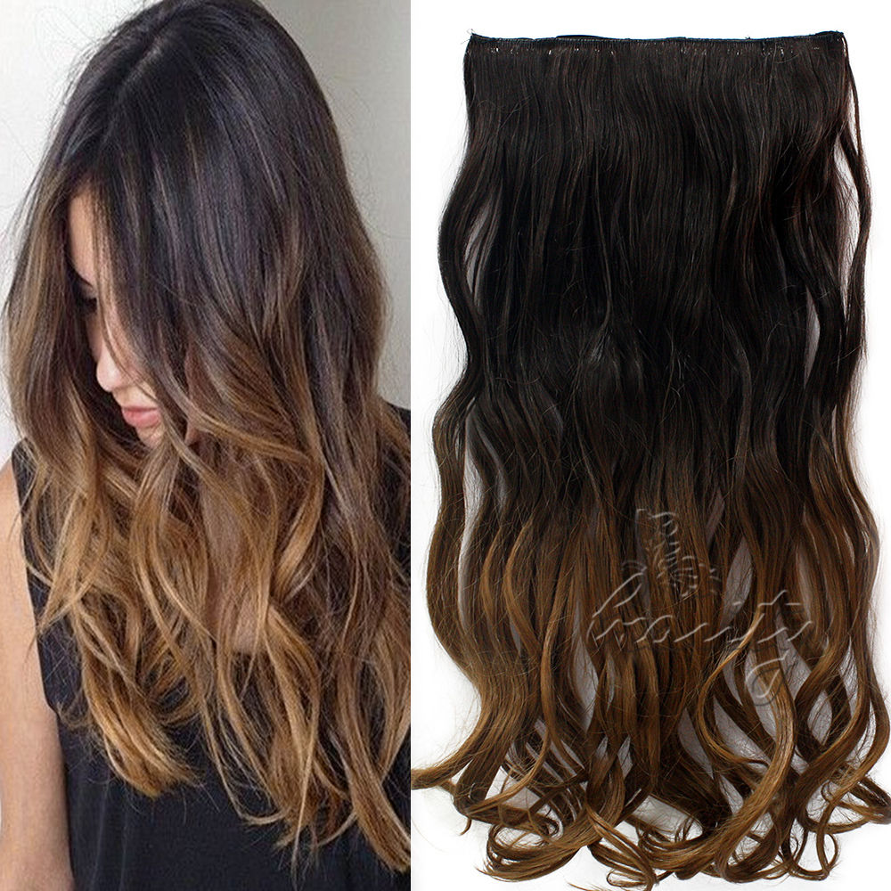 24 one piece clip in extensions 3 4 full head hairpiece ombre curly wavy hair extensions beauty. Black Bedroom Furniture Sets. Home Design Ideas