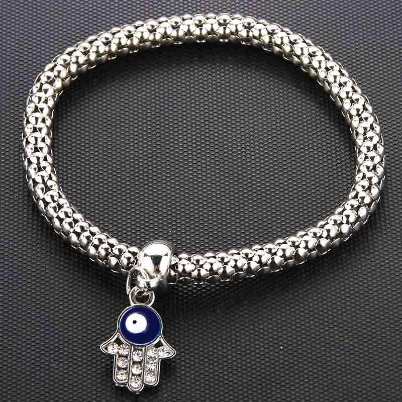 Silver New Crystal Zircon Fatima Hand Hamsa Corn Chain Bracelet Stretch Stretch Fine Bracelet Ladies Fashion Charm Jewelry Gift