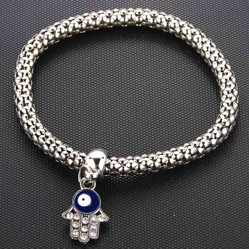 Silver New Crystal Zircon Fatima <font><b>Hand</b></font> Hamsa Corn <font><b>Chain</b></font> <font><b>Bracelet</b></font> Stretch Stretch Fine <font><b>Bracelet</b></font> Ladies Fashion Charm Jewelry Gift image