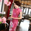 Long Chinese Traditional Cheongsam Retro Modified Slim Dress Elegant Rose Red Cheongsam Dress