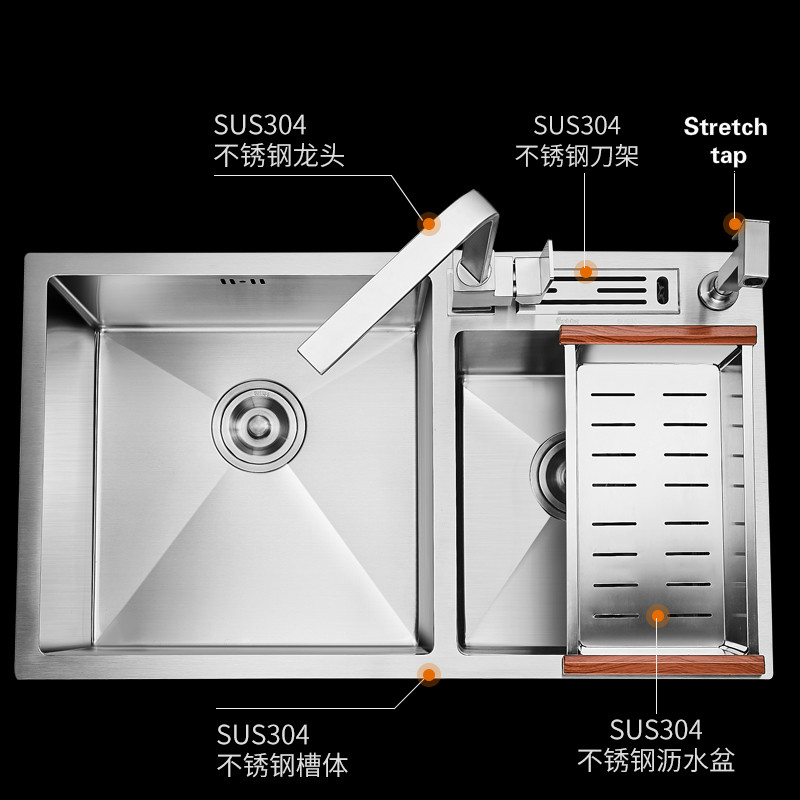 Free shipping Kitchen sink 3mm double groove ordinary food grade 304 stainless steel durable 750x430 MM hot sale cola vending machine 4 valves and three different flavors with 304 stainless steel food grade free shipping by sea